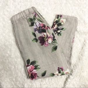 Pants - Tan Floral Linen High Waisted Pants- Made in Italy